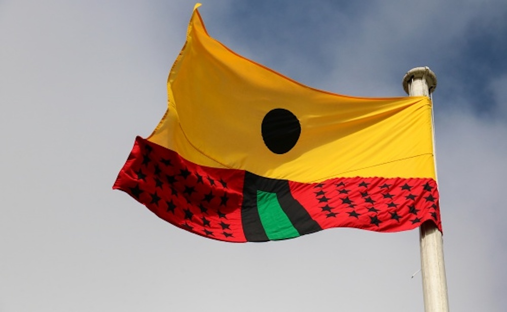 Larry Achiampong, Pan African Flag For The Relic Travellers' Alliance (Ascension), 2017. Courtesy the artist and Copperfield, London